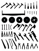 Big tools silhouette set, collection of black images on white background