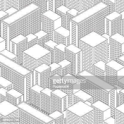 Big Town in isometric view. Seamless pattern with houses. : Vector Art