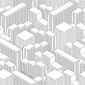 Big Town in isometric view. Seamless pattern with houses. Building in Linear style. Black and white background. Modern city skyline. Vector illustration.