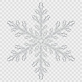 Big translucent crystal snowflake in gray colors on transparent background. Transparency only in vector file. Vector illustrations. EPS10 and JPG are available