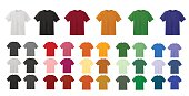 Big t-shirt templates collection of different colors isolated on white background, vector eps10 illustration made with gradient mesh. White, black, red, yellow,orange,green,purple, brown blank t-shirt