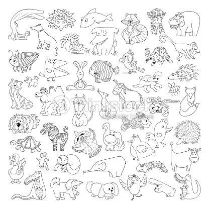 Conjunto De Vector Grande De Graciosos Animales Salvajes Y Animales ...