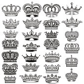 Mega big set of vector hand drawn filigree crowns in vintage style