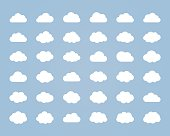 Big vector set of thirty-six white cloud  shapes, cloud icons for web and app, for cloud computing and so on