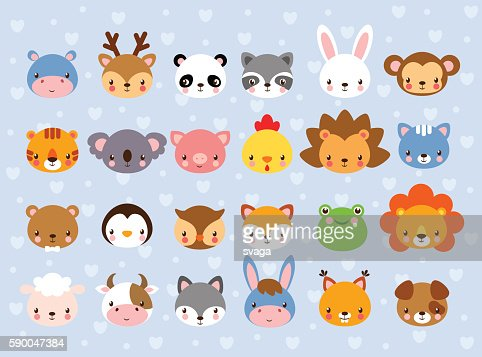 Big vector set with animal faces. : stock vector
