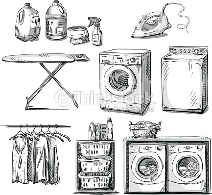 Laundry Objects Vector Sketch Art