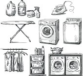 big wash. Laundry objects. Vector sketch. EPS 10.