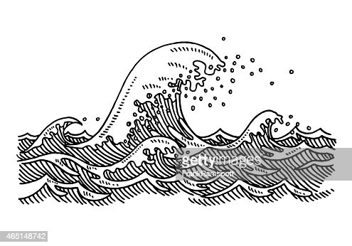 Big Wave Sea Drawing Vector Art | Getty Images