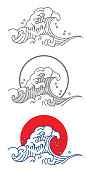 Big wave ocean vector icon. Thai. Japan. Outline & fill color with red and blue.