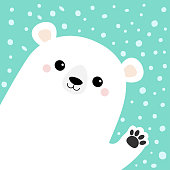 Big white polar bear waving hand paw print. Cute cartoon funny kawaii baby character. Merry Christmas Greeting Card. Flat design. Blue snow background. Greeting card. Vector illustration