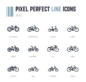 Bike frame icon set. All main frame styles in simple form and wheels. Line style, pixel perfect vector illustration.