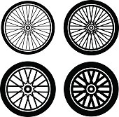bike motorbike wheels black silhouette vector