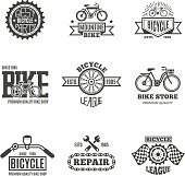 Bike shop, bicycle, biking vintage vector labels, icon, badges and emblems. Bike store and shop badge bicycle, part and repair illustration