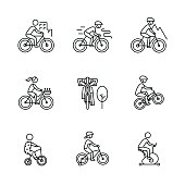 Bike types and cycling sign set. Man, woman, kids. Thin line art icons. Linear style illustrations isolated on white.