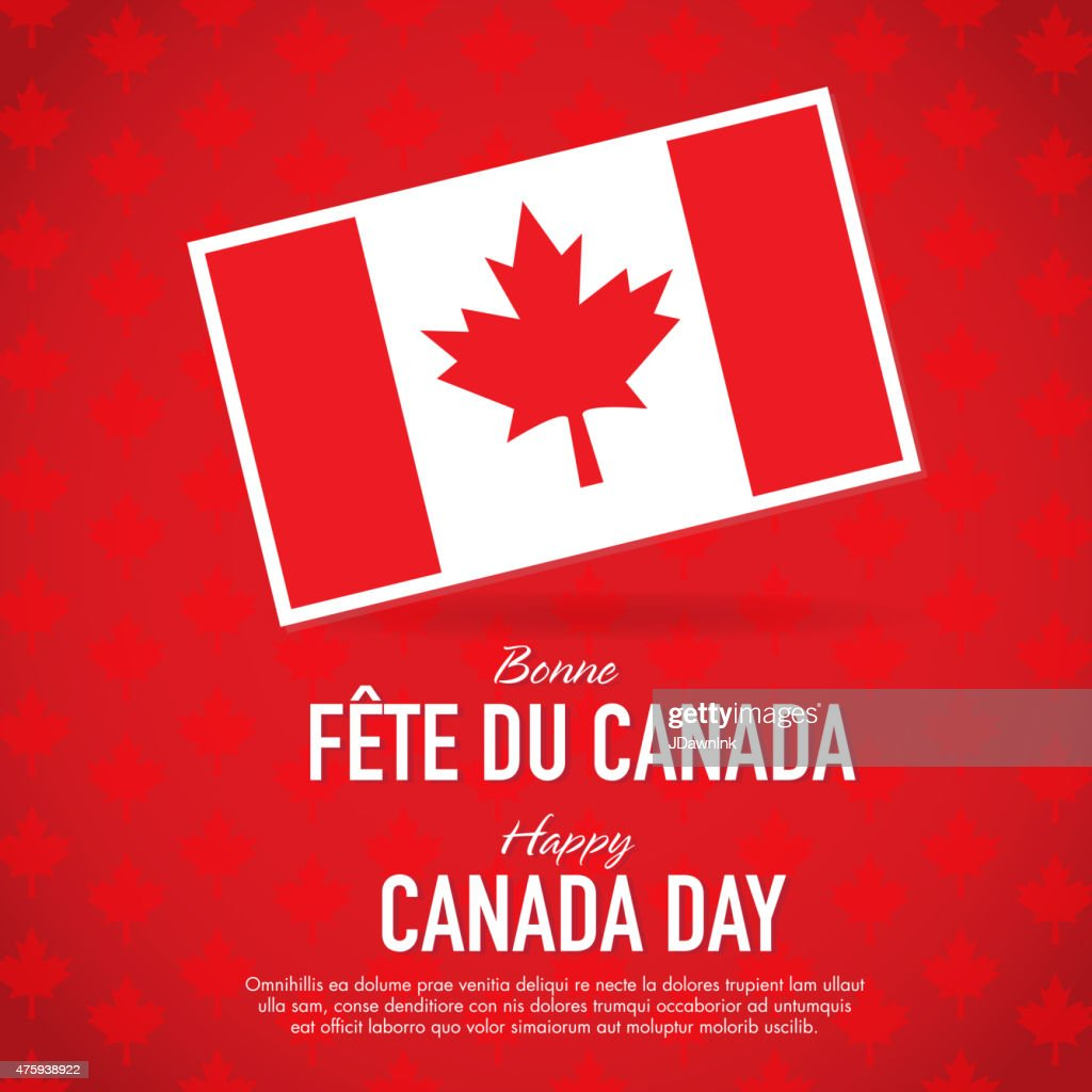 bilingual happy canada day celebration greeting card design