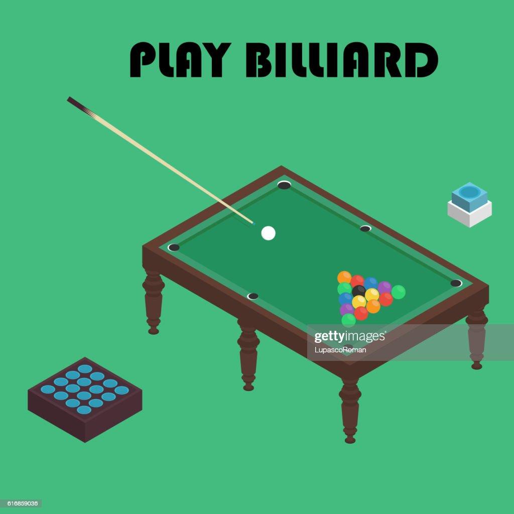 billiard isometric vector graphic illustration. Colorful background. : Vector Art