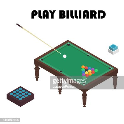 billiard isometric vector graphic illustration. Colorful background. : Vector Art