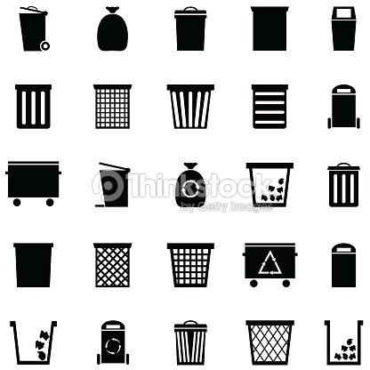bin icon set : stock vector