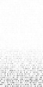 Gradient fall off long sheet of flat binary code program screen on white vector background