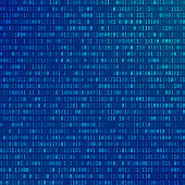 Binary computer code. Abstract Technology background. Stream of zeros and ones. Programming encoded information. Matrix of numbers on blue background. Vector illustration