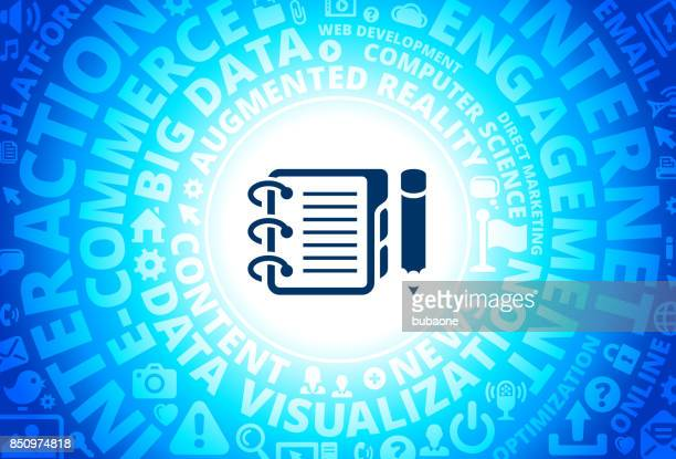 Binder and Pencil Icon on Internet Modern Technology Words Background