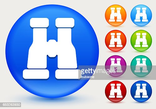 Binocular Icon on Shiny Color Circle Buttons : Vector Art