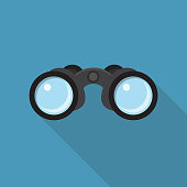 Binoculars Flat Design with Long Shadow