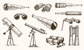 Binoculars or field glasses. Military set. vintage telescopes and optical equipment. engraved hand drawn old line icon. retro sketch style. Concept of active travel, exploration, discovery