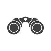 Classic binoculars icon in outline design. Marine binocular vector illustration isolated on white background.