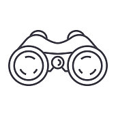 binoculars,periscope,vision vector line icon, sign, illustration on white background, editable strokes
