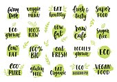 Bio, eco, organic icons set. Vector labels, emblems, stickers, stamps design. Ecology healthy eating icon for raw cafe, vegan menu, gluten free food, fresh farm product. Hand drawn lettering, stains