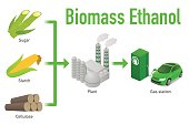 Biofuel life cycle, Biomass ethanol, diagram illustration
