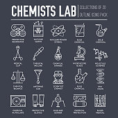 Biohazard chemists in chemistry lab thin line illustration concept set. Science people with equipment icons outline design. Scientist workplace tools for research.