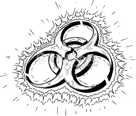 Biohazard Symbol Vector Cartoon Drawing Vector Art Thinkstock
