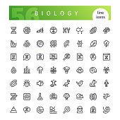 Set of 56 biology line icons suitable for web, infographics and apps. Isolated on white background. Clipping paths included.