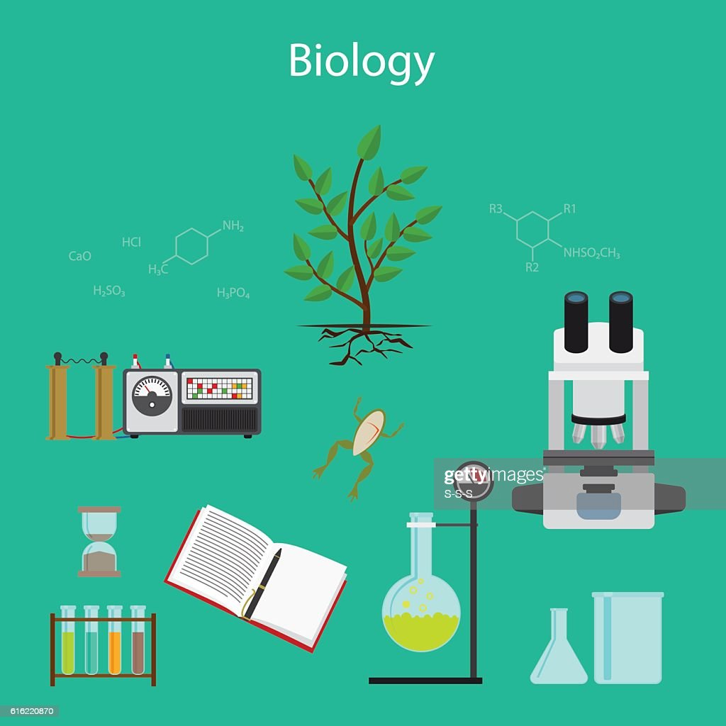 Biology research cartoon illustration : Clipart vectoriel
