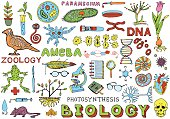 Biology Science Doodle Hand Drawing isolated Elements. Science and School Education theme.