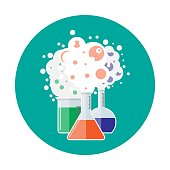 Laboratory equipment, jars, beakers, flasks. Chemical reaction. Biology science education medical. Vector illustration in flat style