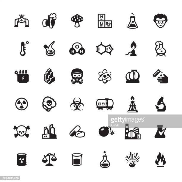 Biotechnology and Chemistry icons set