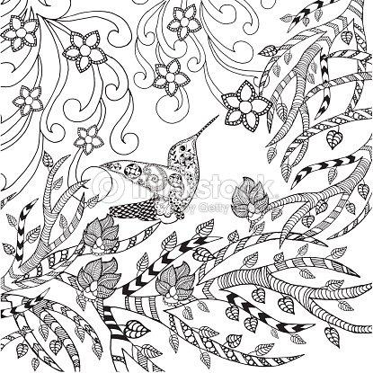 Pájaro Página Para Colorear Arte vectorial | Thinkstock