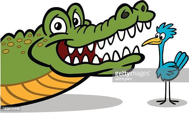 Bird Giving Crocodile Dental Check Up
