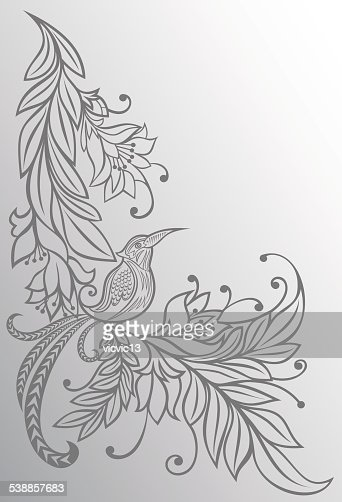 Bird on a branch flowers natural background pencil drawing sketch