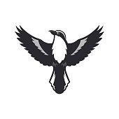 Bird silhouette with spread wings. Shrike bird of the Lanius family - bird of prey vector illustration.