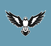 Shrike bird of prey of the Lanius family silhouette with spread wings holding a round sign with place for text or logo