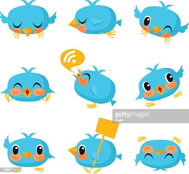 Bird, tweet, bluebird, feed, social media, text, follow, cartoon