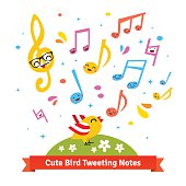 Cute bird tweeting and singing happy cartoon musical notes standing on a green meadow. Flat vector illustration isolated on white background.