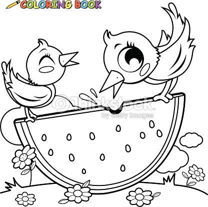 Vögel Essen Wassermelone Malbuch Seite Vektorgrafik | Thinkstock