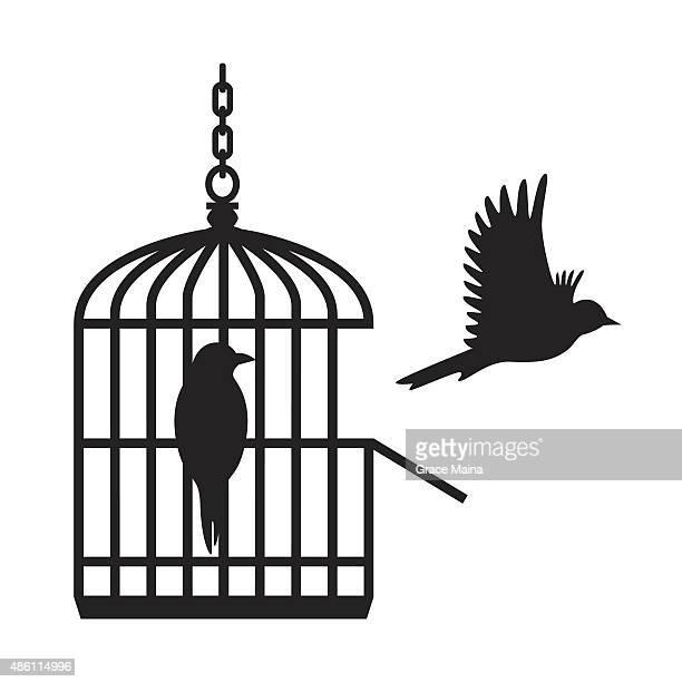 Birds in open birdcage - VECTOR