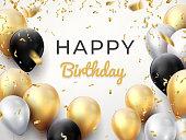 Birthday balloon background. Golden anniversary celebration card, shiny decoration greeting card. Vector realistic birthday poster