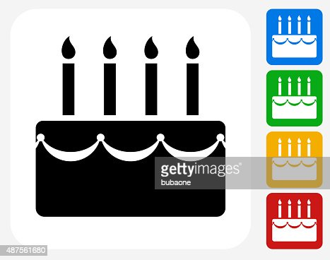 Birthday Cake Icon Flat Graphic Design Vector Art Getty Images - Graphic birthday cake